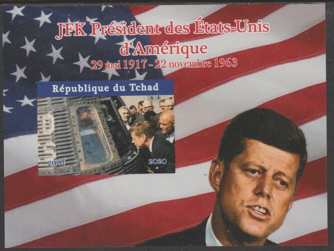 Chad 2020 JFK President of United States of America #3 - imperf delexe sheet unmounted mint. Note this item is privately produced and is offered purely on its thematic appeal