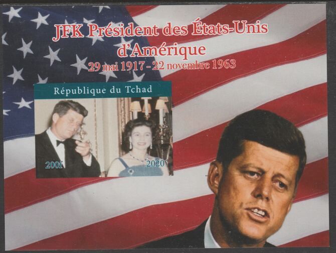Chad 2020 JFK President of United States of America #4 - imperf delexe sheet unmounted mint. Note this item is privately produced and is offered purely on its thematic appeal