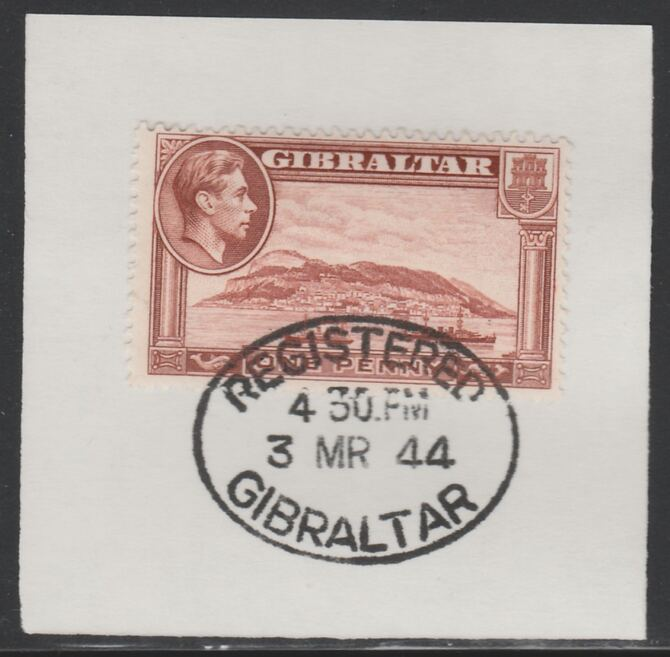 Gibraltar 1938-51 KG6 1d brown on piece with full strike of Madame Joseph forged postmark type 188