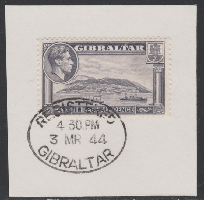 Gibraltar 1938-51 KG6 1.5d slate-violet on piece with full strike of Madame Joseph forged postmark type 188