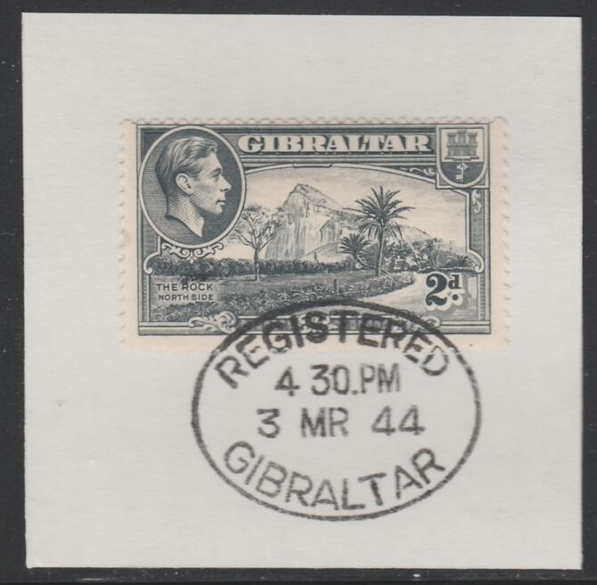 Gibraltar 1938-51 KG6 2d grey on piece with full strike of Madame Joseph forged postmark type 188