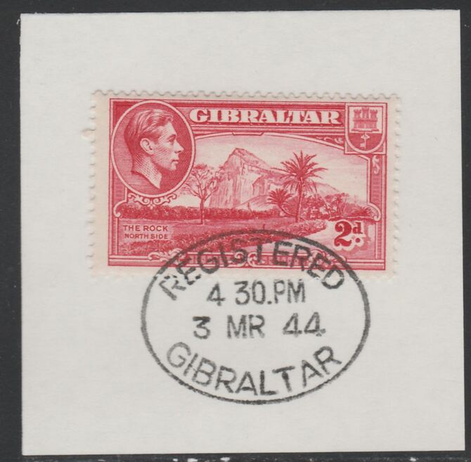 Gibraltar 1938-51 KG6 2d carmine on piece with full strike of Madame Joseph forged postmark type 188