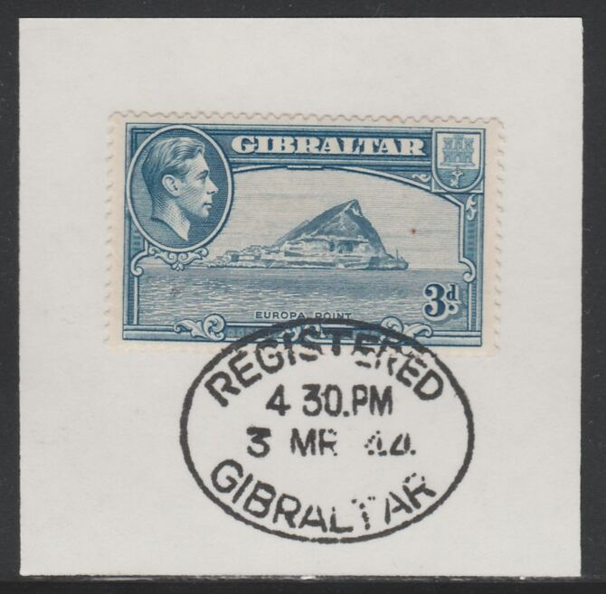 Gibraltar 1938-51 KG6 3d light blue on piece with full strike of Madame Joseph forged postmark type 188