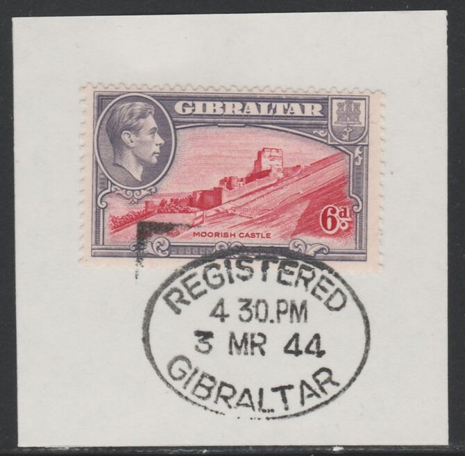 Gibraltar 1938-51 KG6 6d carmine & grey-violet on piece with full strike of Madame Joseph forged postmark type 188