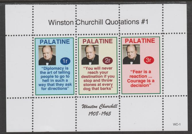 Palatine (Fantasy) Quotations by Winston Churchill #1 perf deluxe glossy sheetlet containing 3 values each with a famous quotation,unmounted mint