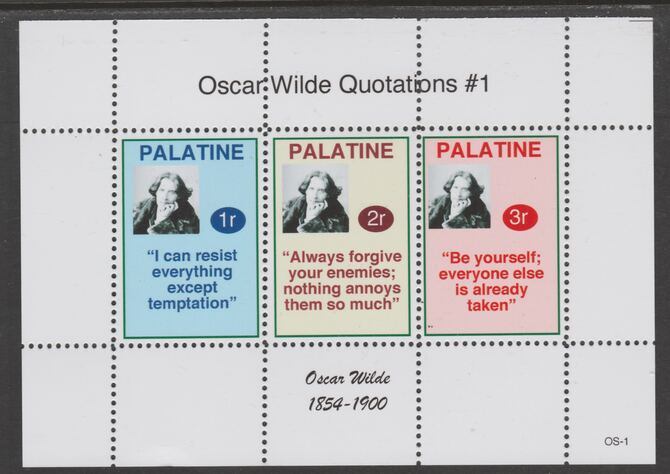 Palatine (Fantasy) Quotations by Oscar Wilde #1 perf deluxe glossy sheetlet containing 3 values each with a famous quotation,unmounted mint
