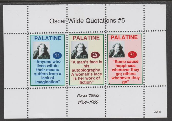 Palatine (Fantasy) Quotations by Oscar Wilde #5 perf deluxe glossy sheetlet containing 3 values each with a famous quotation,unmounted mint