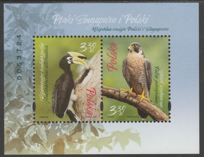 Poland - Singapore Joint issue 2019 Birds perf sheetlet of 2 values unmounted mint