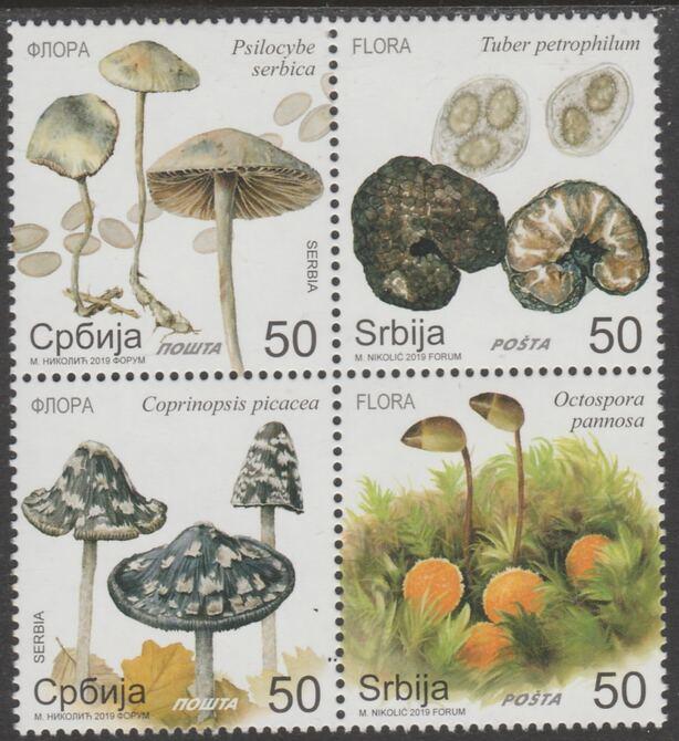 Serbia 2019 Fungi set of 4 in se-tenant block unmounted mint