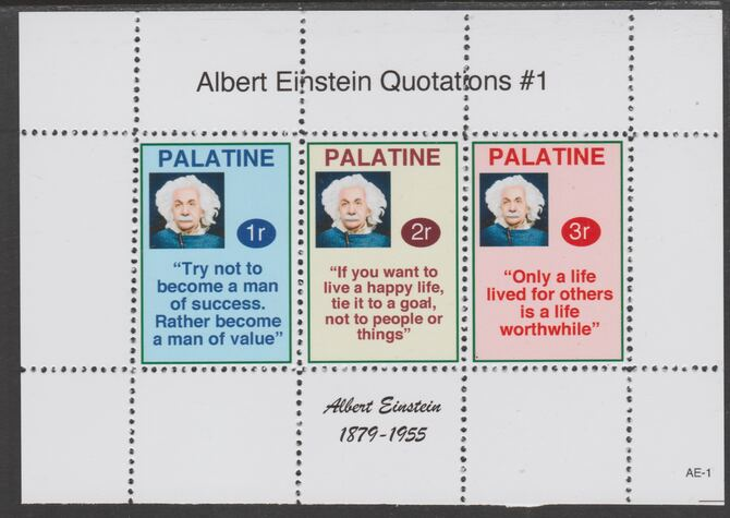 Palatine (Fantasy) Quotations by Albert Einstein #1 perf deluxe glossy sheetlet containing 3 values each with a famous quotation,unmounted mint, stamps on personalities, stamps on einstein, stamps on science, stamps on physics, stamps on nobel, stamps on judaica
