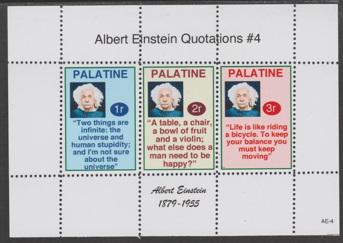 Palatine (Fantasy) Quotations by Albert Einstein #4 perf deluxe glossy sheetlet containing 3 values each with a famous quotation,unmounted mint
