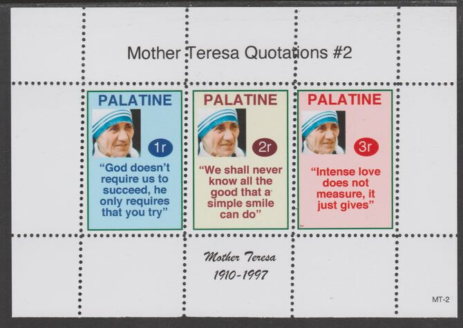 Palatine (Fantasy) Quotations by Mother Teresa #2 perf deluxe glossy sheetlet containing 3 values each with a famous quotation,unmounted mint