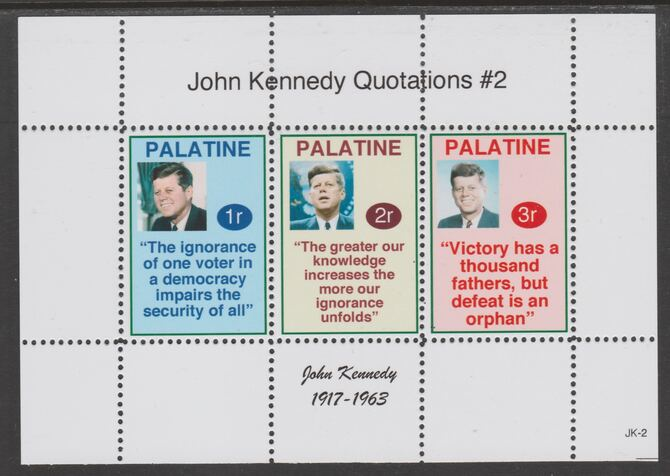 Palatine (Fantasy) Quotations by John Kennedy #2 perf deluxe glossy sheetlet containing 3 values each with a famous quotation,unmounted mint