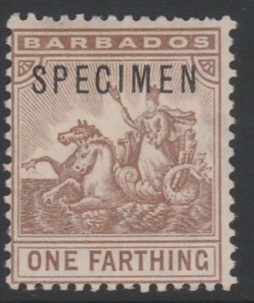 Barbados 1907 Britannia 1/4d overprinted SPECIMEN, fine with gum and only about 300 produced, SG 163s