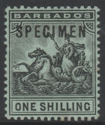 Barbados 1907 Britannia 1s overprinted SPECIMEN, fine with gum and only about 300 produced, SG 169s
