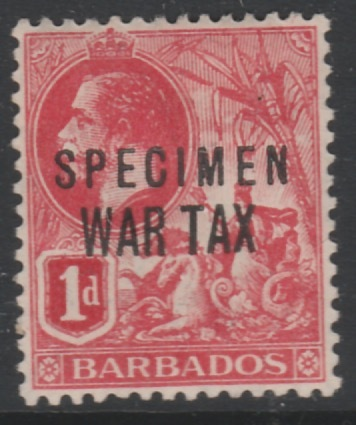 Barbados 1917 KG5 1d WAR TAX overprinted SPECIMEN, fine with gum and only about 400 produced, SG 97s