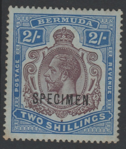 Bermuda 1910 KG5 MCA 2s overprinted SPECIMEN, (type D12a) with gum but some foxingn only about 400 produced, SG 51bs