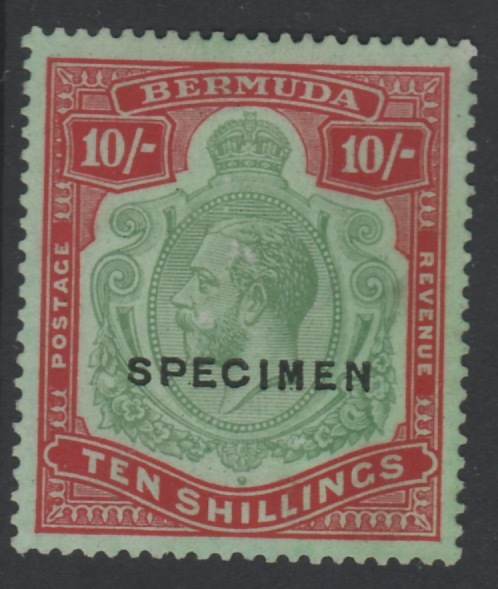 Bermuda 1924 KG5 Script CA 10s overprinted SPECIMEN, (type D16) fine with gum and good colour, only about 400 produced, SG 92s