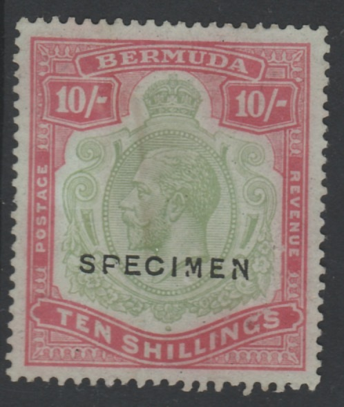 Bermuda 1924 KG5 Script CA 10s overprinted SPECIMEN, (type D16) without gum and faded but only about 400 produced, SG 92s Note the Broken M variety similar to the famous variety that occurs on thhe D12 overprint