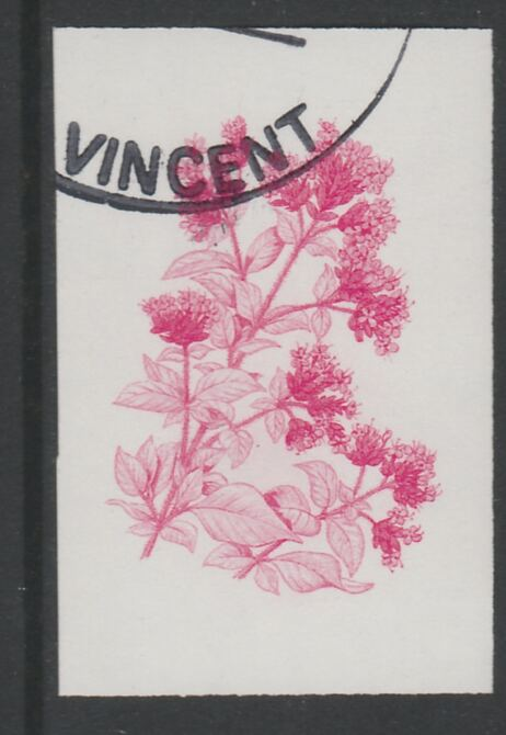 St Vincent 1985 Herbs & Spices 35c Sweet Marjoram imperf proof in magenta only, fine used with part St Vincent cancellation, produced for a promotion. Ex Format archives (as SG 869)