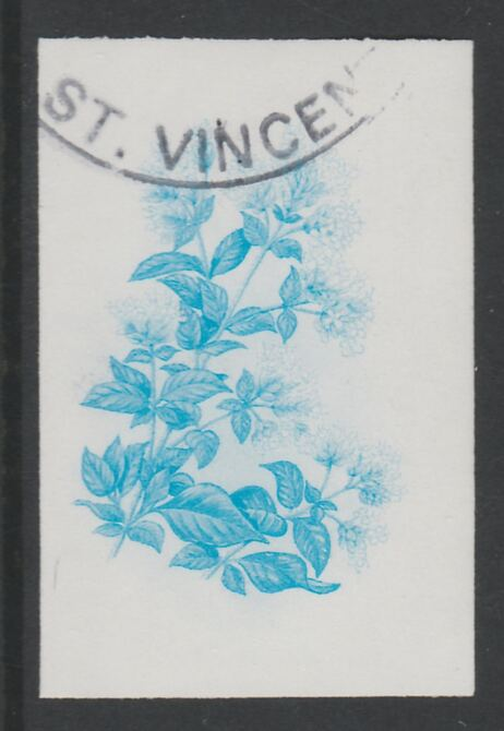 St Vincent 1985 Herbs & Spices 35c Sweet Marjoram imperf proof in cyan only, fine used with part St Vincent cancellation, produced for a promotion. Ex Format archives (as SG 869)