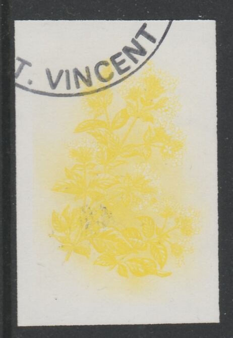 St Vincent 1985 Herbs & Spices 35c Sweet Marjoram imperf proof in yellow only, fine used with part St Vincent cancellation, produced for a promotion. Ex Format archives (as SG 869)