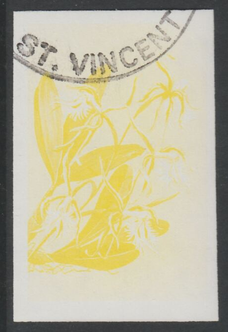 St Vincent 1985 Orchids 35c imperf proof in yellow only, fine used with part St Vincent cancellation, produced for a promotion. Ex Format International archives (as SG 850)