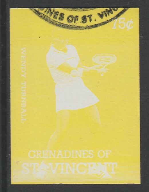 St Vincent - Grenadines 1988 International Tennis Players 75c Wendy Turnbull imperf proof in yellow only, fine used with part St Vincent Grenadines cancellation, produced for a promotion. Ex Format archives (as SG 584)