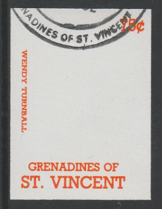 St Vincent - Grenadines 1988 International Tennis Players 75c Wendy Turnbull imperf proof in orange only, fine used with part St Vincent Grenadines cancellation, produced for a promotion. Ex Format archives (as SG 584)