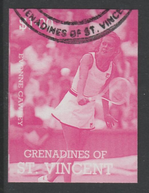 St Vincent - Grenadines 1988 International Tennis Players $1 Evonne Crawley imperf proof in magenta only, fine used with part St Vincent Grenadines cancellation, produced for a promotion. Ex Format archives (as SG 585)