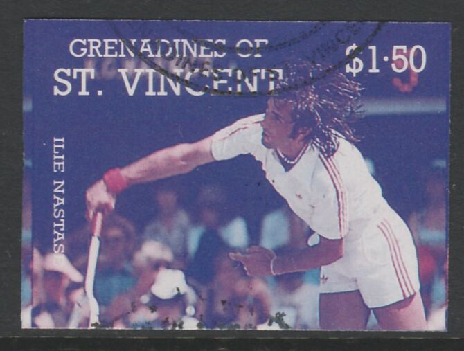St Vincent - Grenadines 1988 International Tennis Players $1.50 Ilie Nastase imperf proof in magenta & cyan only, fine used with part St Vincent Grenadines cancellation, produced for a promotion. Ex Format archives (as SG 586)