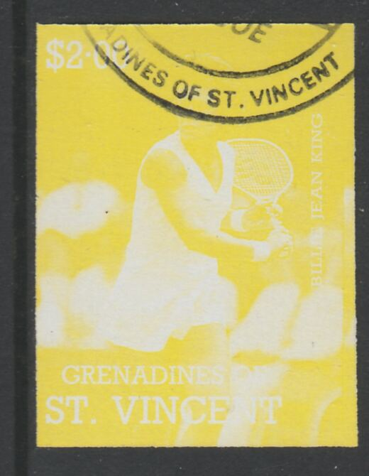 St Vincent - Grenadines 1988 International Tennis Players $2 Billie Jean King imperf proof in yellow only, fine used with part St Vincent Grenadines cancellation, produced for a promotion. Ex Format archives (as SG 587)