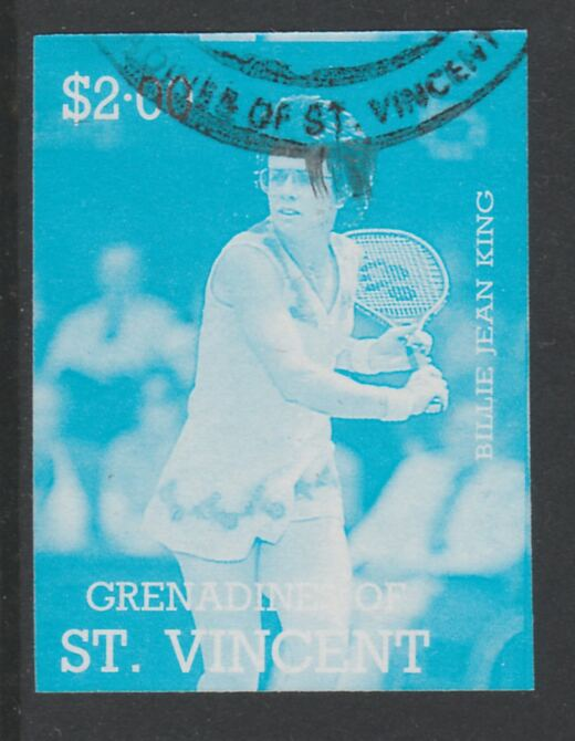 St Vincent - Grenadines 1988 International Tennis Players $2 Billie Jean King imperf proof in cyan only, fine used with part St Vincent Grenadines cancellation, produced for a promotion. Ex Format archives (as SG 587)