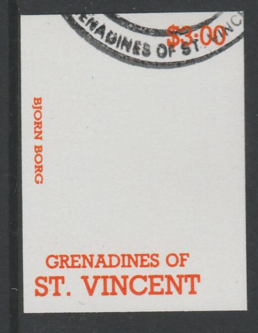 St Vincent - Grenadines 1988 International Tennis Players $3 Bjorn Borg imperf proof in orange only, fine used with part St Vincent Grenadines cancellation, produced for a promotion. Ex Format archives (as SG 588)