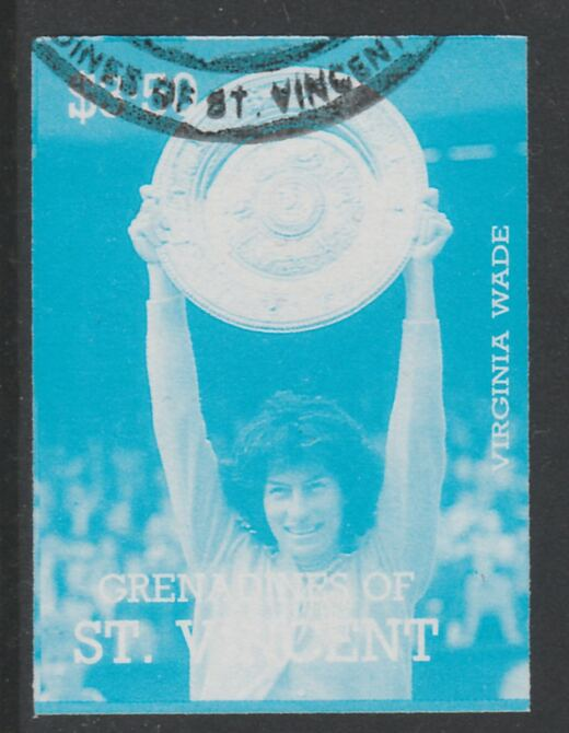 St Vincent - Grenadines 1988 International Tennis Players $3.50 Virginia Wade imperf proof in cyan only, fine used with part St Vincent Grenadines cancellation, produced for a promotion. Ex Format archives (as SG 589)
