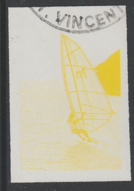 St Vincent 1988 Tourism 10c Windsurfing imperf proof in yellow only, fine used with part St Vincent cancellation, produced for a promotion. Ex Format International archives (as SG 1133)
