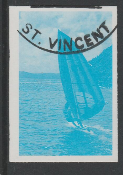 St Vincent 1988 Tourism 10c Windsurfing imperf proof in cyan only, fine used with part St Vincent cancellation, produced for a promotion. Ex Format International archives (as SG 1133)