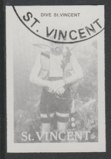 St Vincent 1988 Tourism 45c Scuba Diving imperf proof in black only, fine used with part St Vincent cancellation, produced for a promotion. Ex Format International archives (as SG 1134)