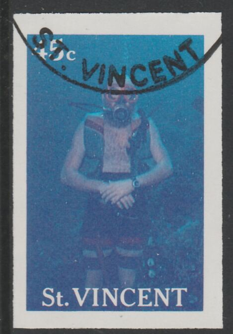 St Vincent 1988 Tourism 45c Scuba Diving imperf proof in magenta & cyan only, fine used with part St Vincent cancellation, produced for a promotion. Ex Format International archives (as SG 1134)