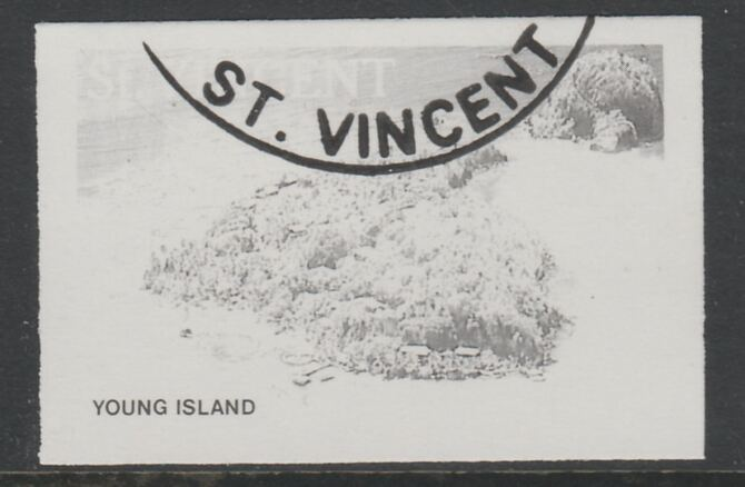 St Vincent 1988 Tourism 65c Aerial View of Young Island imperf proof in black only, fine used with part St Vincent cancellation, produced for a promotion. Ex Format International archives (as SG 1135) , stamps on tourism, stamps on
