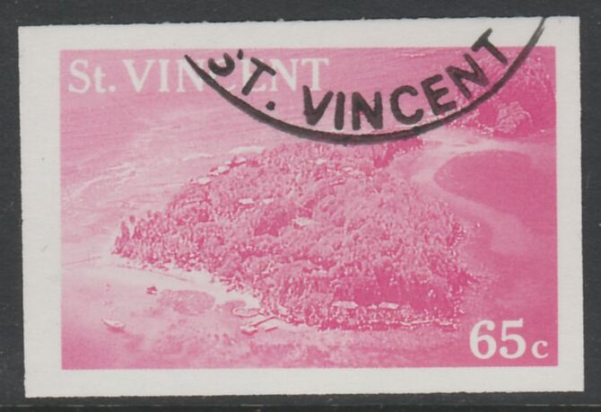 St Vincent 1988 Tourism 65c Aerial View of Young Island imperf proof in magenta only, fine used with part St Vincent cancellation, produced for a promotion. Ex Format International archives (as SG 1135)