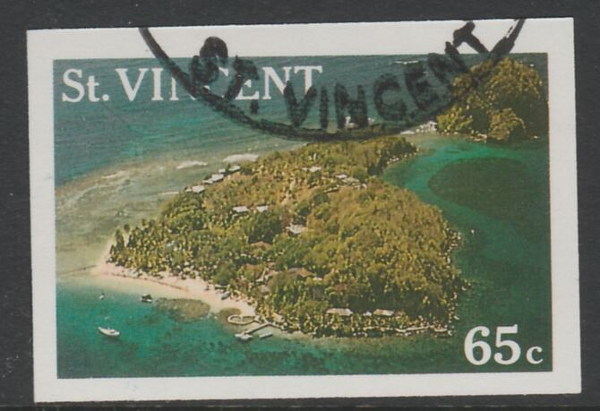 St Vincent 1988 Tourism 65c Aerial View of Young Island imperf proof in 3 colours only (magenta, cyan & yellow only), fine used with part St Vincent cancellation, produced for a promotion. Ex Format International archives (as SG 1135)
