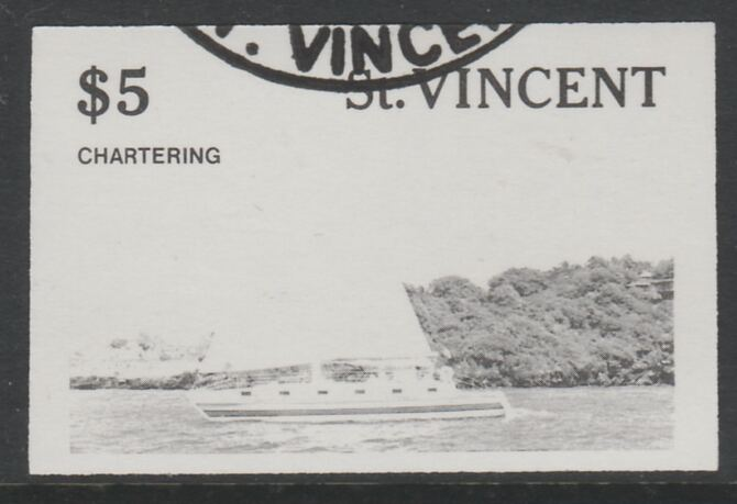 St Vincent 1988 Tourism $5 Cruising Yacht imperf proof in black only, fine used with part St Vincent cancellation, produced for a promotion. Ex Format International archives (as SG 1136)