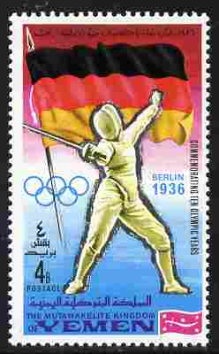 Yemen - Royalist 1968 Fencing 4b from Summer Olympics perf set unmounted mint, Mi 520A