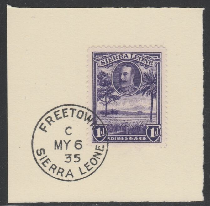 Sierra Leone 1932 KG5 Pictorial 1d violet SG 156 on piece with full strike of Madame Joseph forged postmark type 393, stamps on , stamps on  kg5 , stamps on forgery