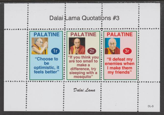 Palatine (Fantasy) Quotations by Dalai Lama #3 perf deluxe glossy sheetlet containing 3 values each with a famous quotation,unmounted mint
