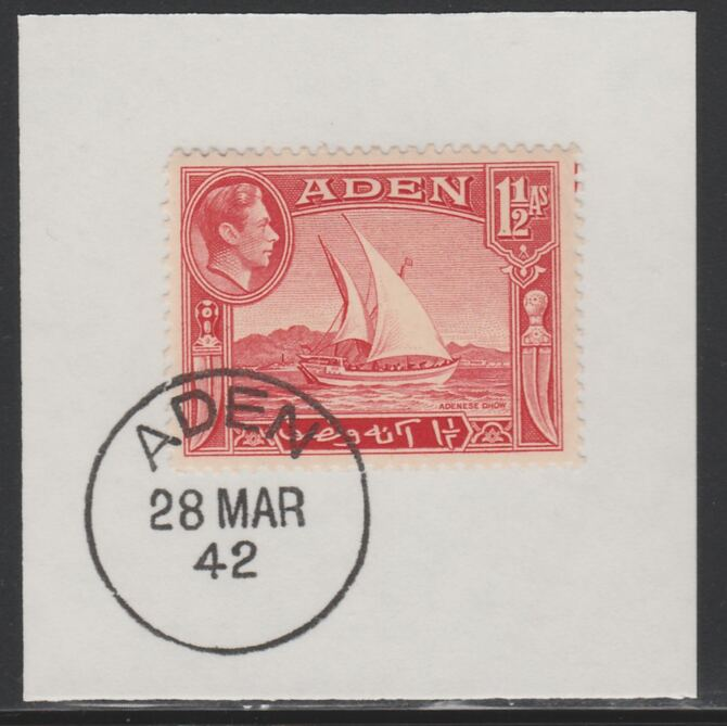 Aden 1939-48 KG6 Dhow 1.5a scarlet on piece with full strike of Madame Joseph forged postmark type 3, stamps on , stamps on  stamps on , stamps on  stamps on  kg6 , stamps on  stamps on ships