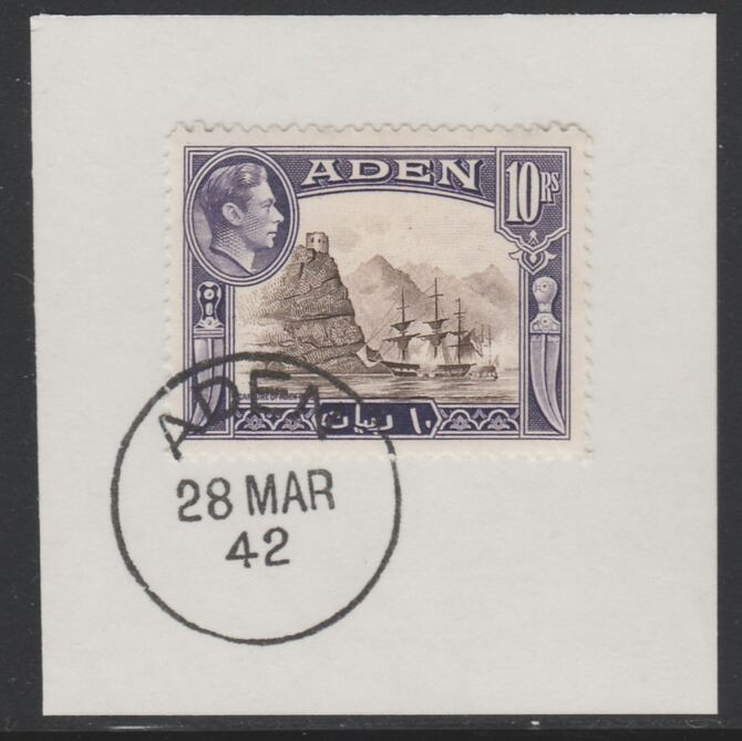 Aden 1939-48 KG6 Capture of Aden 10r sepia & violet on piece with full strike of Madame Joseph forged postmark type 3