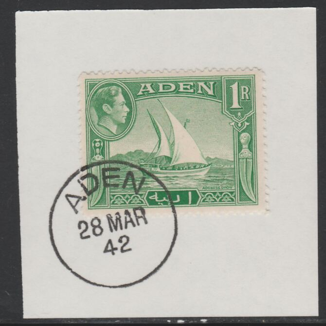 Aden 1939-48 KG6 Dhow 1r emerald-green on piece with full strike of Madame Joseph forged postmark type 3