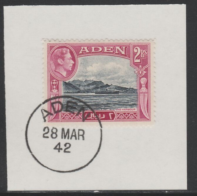 Aden 1939-48 KG6 The Harbour 2r deep blue & magenta on piece with full strike of Madame Joseph forged postmark type 3